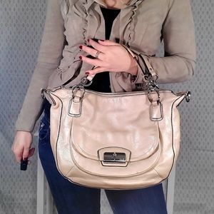 Coach Kristin Cream Metallic Leather Purse